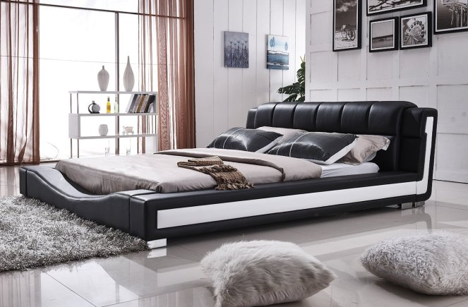Liam Black and White Faux Leather Contemporary Platform Bed (Queen Size)